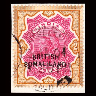 Somaliland On India Qv 2r Variety Curved Overprint Sg 22a On Piece photo