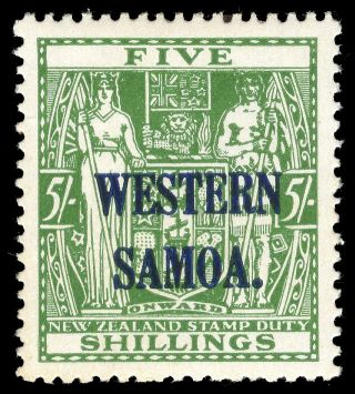 Samoa 1945 Kgvi 5s Green Cat £21 ($42).  Sg 208.  Sc 196. photo