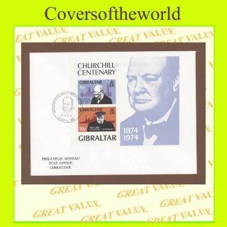 Gibraltar 1974 Churchill Miniature Sheet On Bureau First Day Cover photo