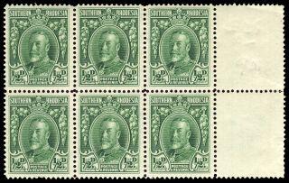 Southern Rhodesia 1935 Kgv ½d Green Perf 14 Block 6.  Sg 15b.  Sc 16c. photo