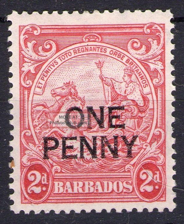 Barbados Rare Cv £180 Sg 21ae Penny Overprint Full Gum Light Hinge Mark British Colonies & Territories photo
