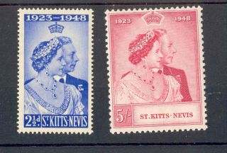 St Kitts Nevis Kgvi 1949 Rsw Issue Sg80 Sg81 Royal Silver Wedding Omnibus photo