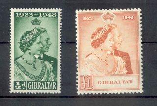 Gibraltar Kgvi 1948 Rsw Issue Sg134/5 Royal Silver Wedding Omnibus photo