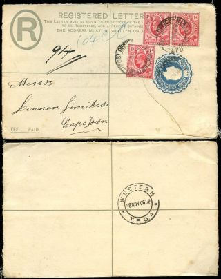 Orange River Colony Ke7 Registered Stationery 1906 + Western Tpo photo