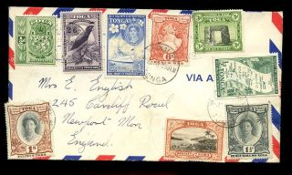 Tonga 1953 Airmail 9 Stamp Franking To 5/ - To Wales photo