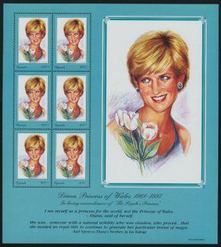 Uganda 1519 Sheet Princess Diana,  Flowers,  Royalty photo