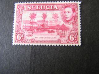 St.  Lucia,  Scott 119,  6p.  Value Magenta 1948 Kgv1 Issue Mlh photo