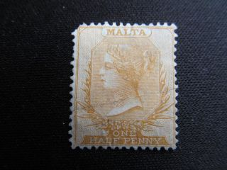 1880 Pen Cancelled 1/2 Penny Malta Stamp,  3c,  Cv $110.  00 photo