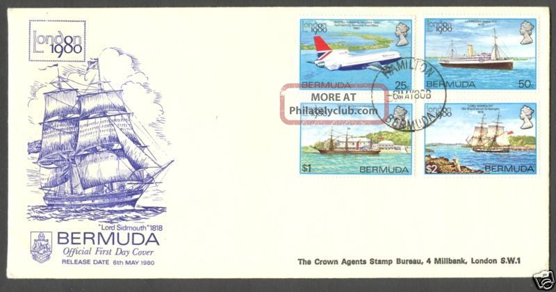 Ships Plane London ' 80 Expo Bermuda 1980 Sc 393 - 396 British Colonies & Territories photo
