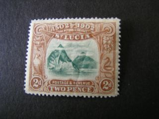 St.  Lucia,  Scott 49,  2p.  Value Brown & Green 1902 The Pitons Issue Mlh photo