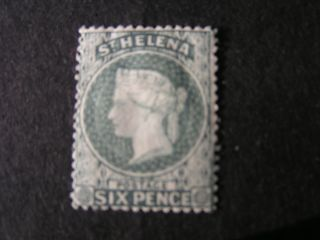 St.  Helena,  Scott 7,  6p.  Value Gray Blue Perf 14,  Qv 1889 Mh photo