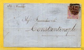 1860 Wrapper Sg84,  6d Lilac (£200) British Post Office Constantinople Datestamp photo