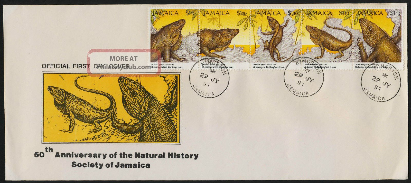 Jamaica 751 Fdc - Jamaican Iguana,  Natural History Society British Colonies & Territories photo