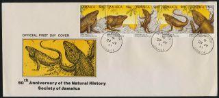 Jamaica 751 Fdc - Jamaican Iguana,  Natural History Society photo