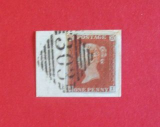 Gb Victoria 1d Red Ji 4 Margin Pl 51 On Piece 303 Irish Diamond Pmk Ref:y498 photo
