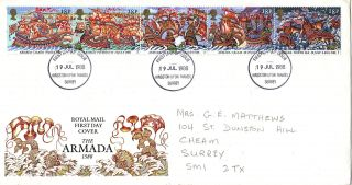 19 July 1988 Spanish Armada Royal Mail First Day Cover Kingston U Thames Fdi photo