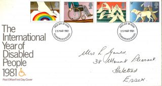 25 March 1981 Year Of Disabled People Post Office First Day Cover Bournemouth photo