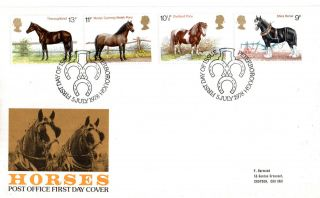 5 July 1978 Shire Horses Post Office First Day Cover Peterborough Shs (p) photo