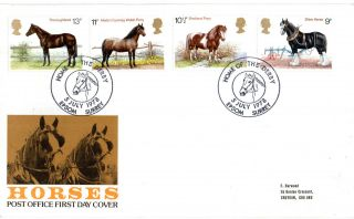 5 July 1978 Shire Horses Post Office First Day Cover Home Of The Derby Shs photo