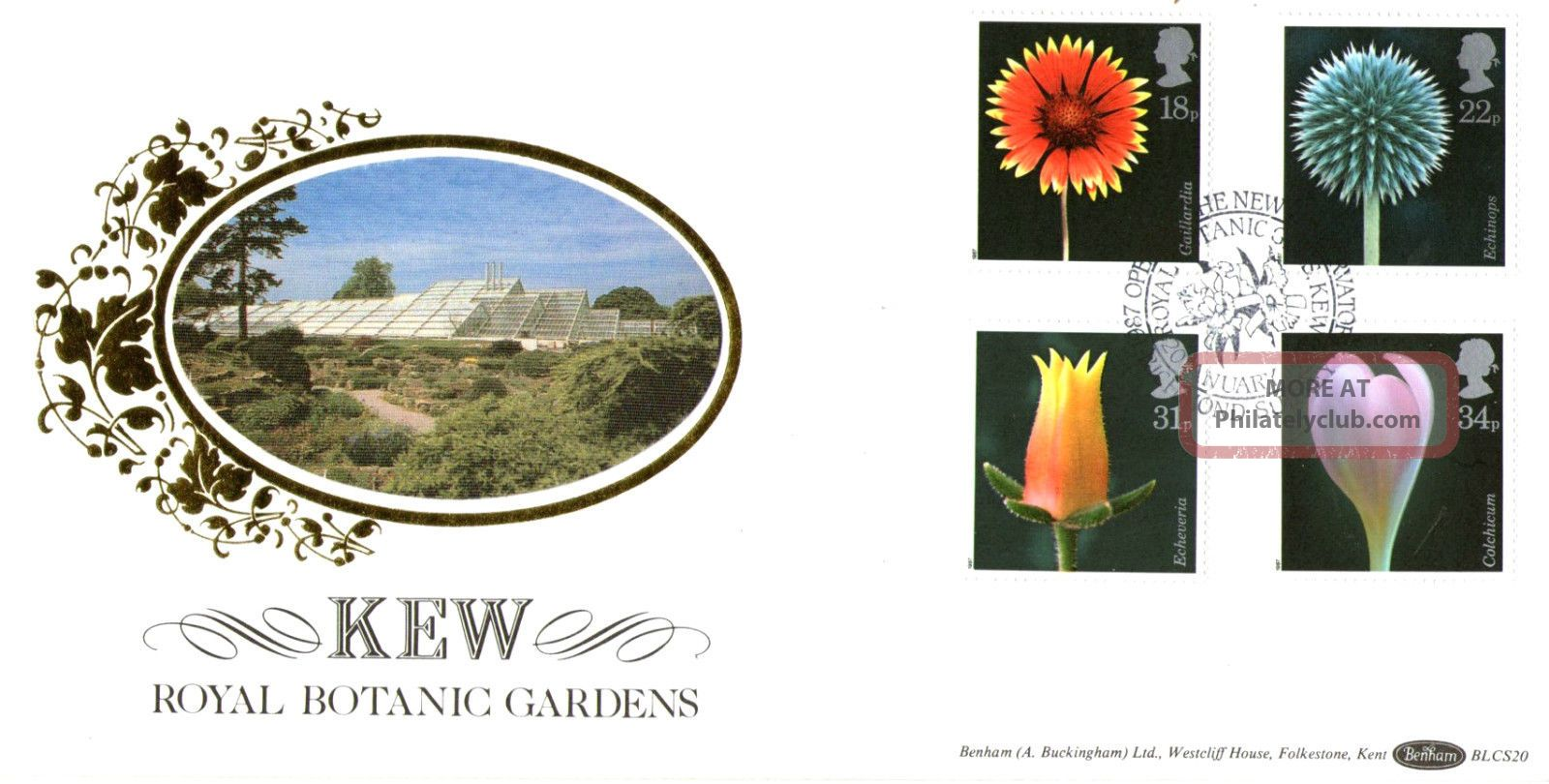 20 January 1987 Flowers Benham Blcs 20 First Day Cover Rbg Kew Shs Topical Stamps photo