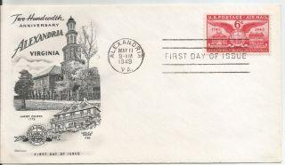 Us Airmail C40,  Alexandria Bicentennial,  Fleetwood Fdc (bcv=$2.  50) photo