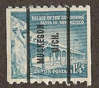 Usa Scott 1054a,  Palace Of Governors,  Santa Fe Nm; Muskegon,  Mi Precancel,  1960 photo