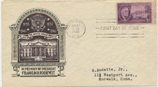 1945 Fdc,  Franklin Delano Roosevelt,  Staehle photo