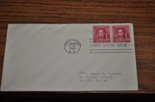 January 29,  1940 First Day Cover Of J.  F.  Cooper.  02 Stamp 2 Stamp Block photo