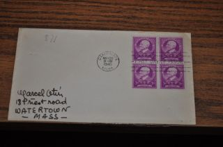 March 28,  1940 First Day Cover Of Charles W Eliot.  03 Stamp 4 Stamp Block photo
