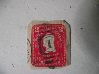 U.  S.  Cut Square George Washington Embossed 2c Carmine photo
