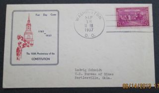 Scott 798 Usps One 3 Cent Constitution Sesquicentennial 1787 - 1937 Stamped Fdc photo