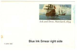 Ux101 Arc& Dove 13c Postcard Blue Color Error?? Smear On Right photo