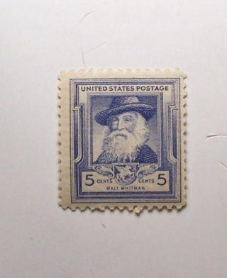 Walt Whitman 5c (1) Stamp Cat 867 F/v20c C/v $2.  00 L/h O/g photo