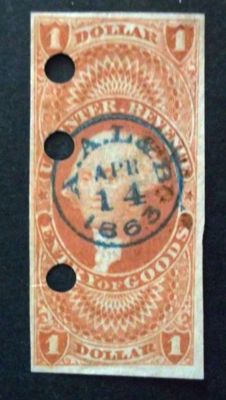 Usa.  Sc.  R67a (1862 - 71) $1 Entry Of Goods. .  Handstamped.  2012 Sccv $42.  50 photo