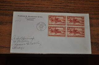 April 3,  1940 First Day Cover Of Pony Express.  03 Stamp 4 Stamp Block photo