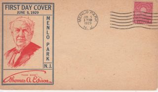 654 - 1b 2c Edison (flat Press) Pm Menlo Pk 6/5/29 S Roessler (card 6 - 1/2x3 - 3/4
