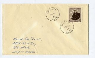 Canada Winston Churchill Scott 440 1965 Cover Calgary To Red Deer Fd Cancel photo
