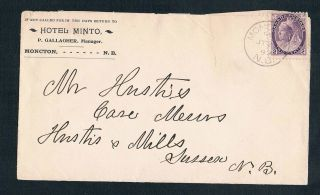 The Hotel Minto In Moncton Brunswick 1899 With Two Cent Queen Victoria Stamp photo