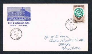 1962 Fort Cumberland Hotel Of Amherst Nova Scotia Cover With Stamp photo