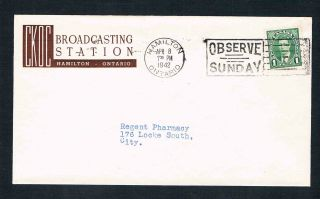 1942 Wartime Cover For Ckoc Broadcasting Station In Hamilton Ontario photo