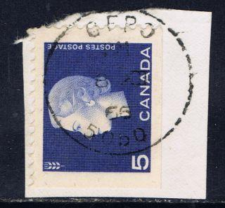 Canada 405 (2) 1963 5 Cent Violet Blue Elizabeth Ii C.  F.  P.  O.  5050 1966 Cancel photo
