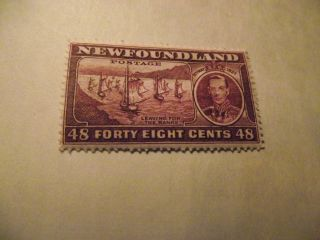 Newfoundland Stamp Scott 243 A136 Fishing Fleet 48c Dark Violet 1937 photo