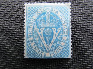 1865 British Columbia Mng 3 Pence Mng Stamp,  7,  Cv $120.  00 photo