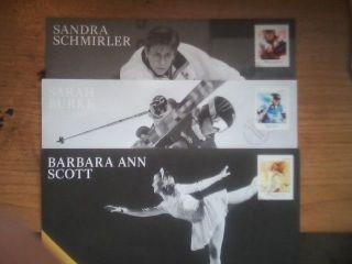 3 F.  D.  C Curler Sandra Schmirler,  Skier Sarah Burke,  Skater Barbara Ann Scott photo