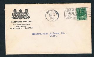 1923 Cover From Wagstaffe Limited Pure Fruit Preservers Hamilton Ontario photo