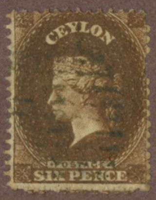 Ceylon Sc 41 6p Brown Qv Engraved Perf13 photo
