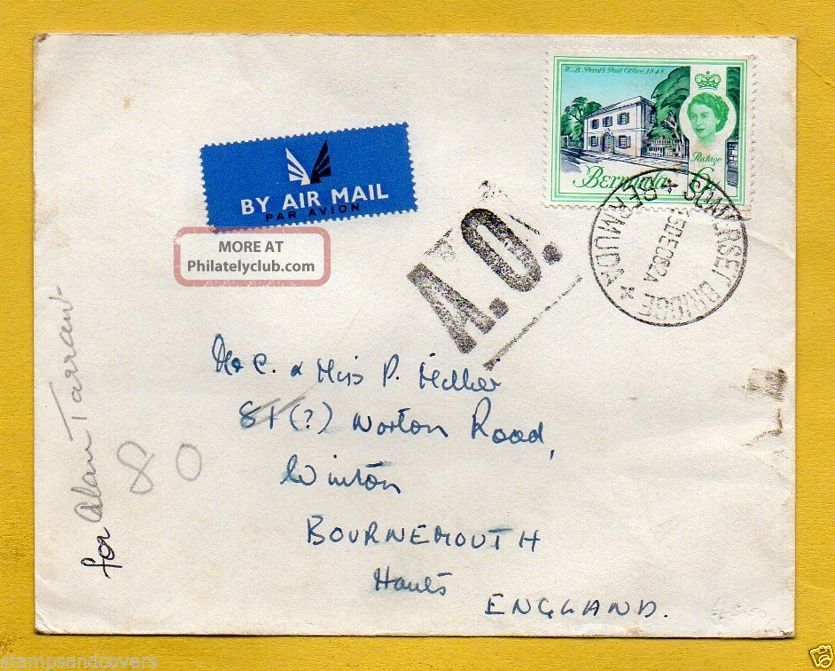 Bermuda 1962 Air Mail To England - A.  O.  (autres Objets) Cachet+somerset Bridge Cds British Colonies & Territories photo