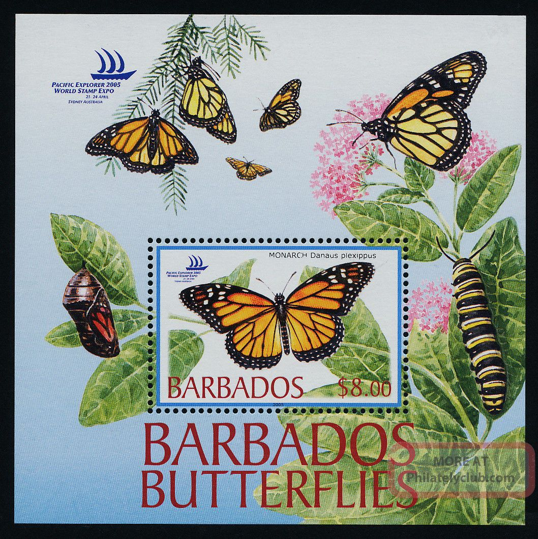 Barbados 1073 - 7 Butterflies,  Insects,  Flowers British Colonies & Territories photo