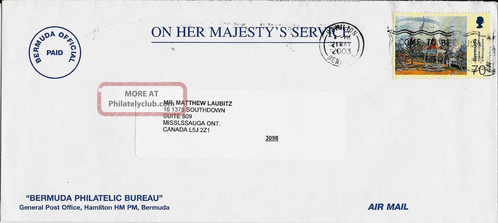 2003 Bermuda Airmail Cover Hamilton To Ontario Canada British Colonies & Territories photo