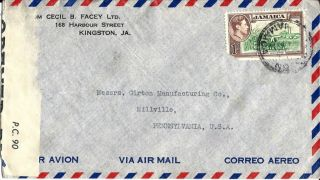 Jamaica Censored Airmail Cover Kingston To Pennsylvania Usa photo